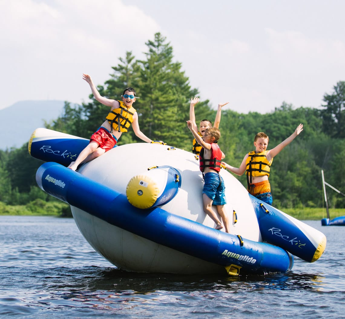 Boys on Aquaglide inflatable