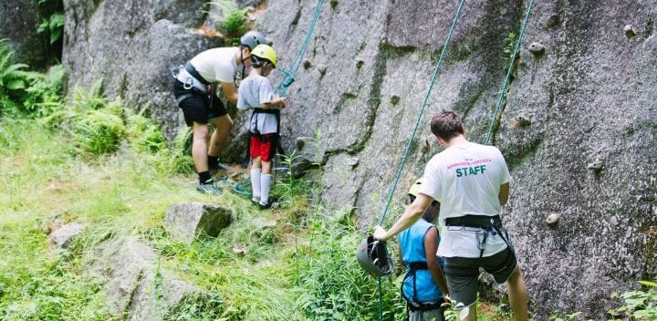 Getting ready to rock climb granite cliffs