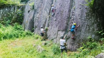 Rock climbing on granite cliffs