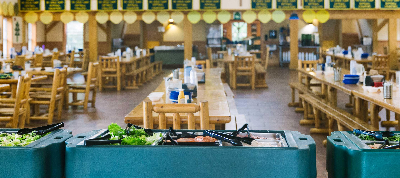 Salad bar and dining hall
