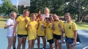 Girls in yellow holding trophy