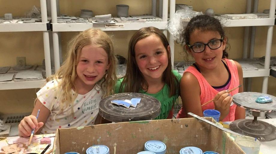 Girls in ceramics studio on Rookie Day