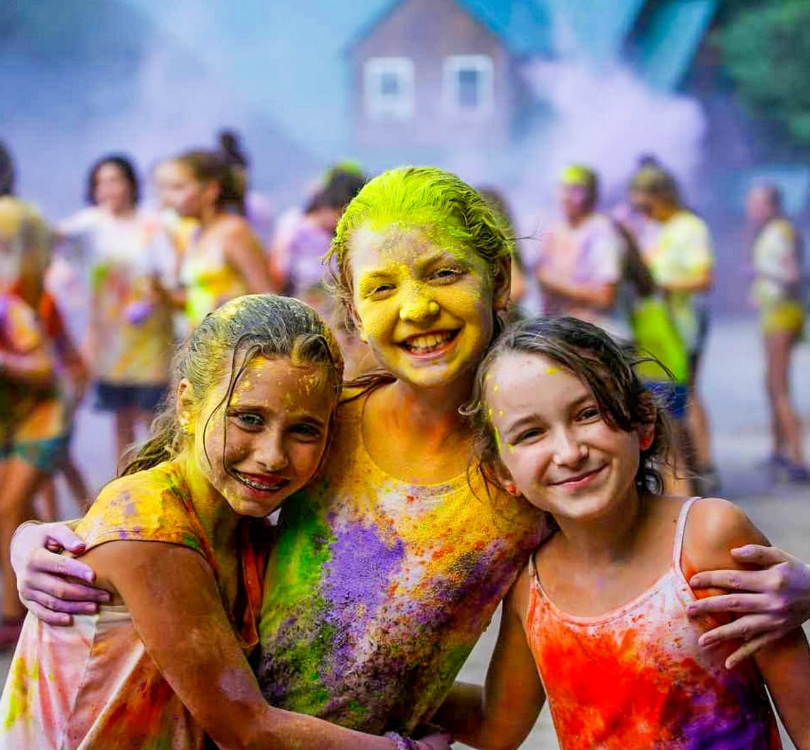 Girls at a color throwing event